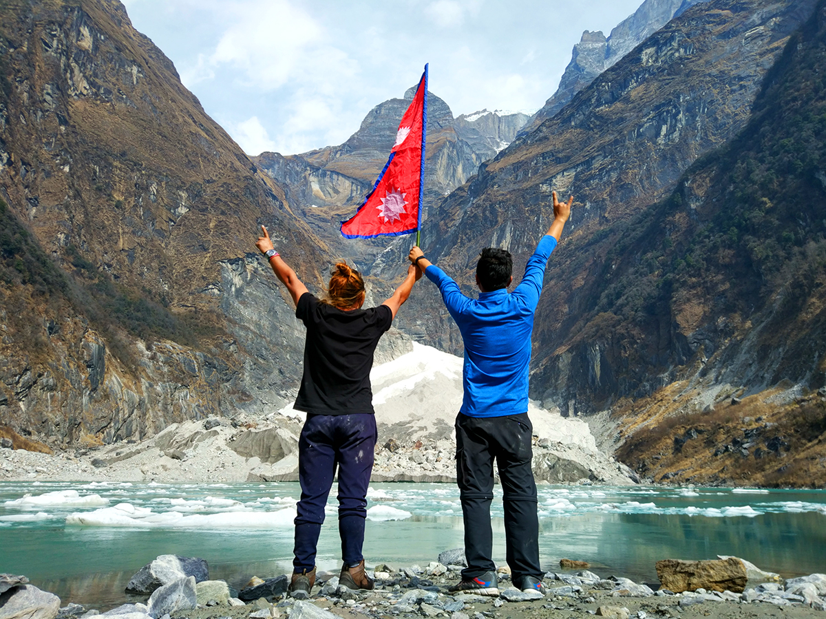 Kafuche Ice Lake with Nepal Flag